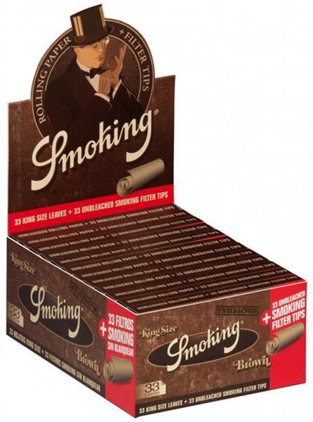 Smoking King Size Brown, 24 Hefte je 33 Blatt + Tips