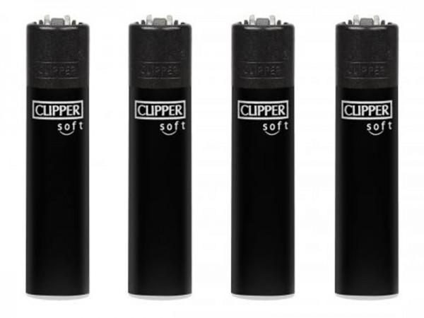 "Feuerzeug Clipper Large Reibrad ""All Black"" Soft Touch, 48 Stück"